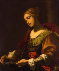 Simon Vouet (Paris - Salome with the head of John the Baptist, Judith And Holofernes, Venetian Painters, Weak Men, Three Daughters, Madonna And Child, John The Baptist, Dnd Characters, Black Wallpaper, Ancient Art