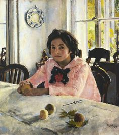 """Valentin Serov """"Portrait of Vera Mamontova."""" Also known as """"The Girl with Peaches."""" 1887 Oil on canvas. The Tretyakov Gallery, Moscow. Serov is a great, underrated portraitist. Russian Painting, Russian Art, Painting People, Figure Painting, Art Google, Female Art, Art History, Art Gallery, Fine Art"""