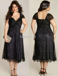 Wholesale Black Plus Size Lace Mother of the Bride Dress 2013 Cap Sleeve Sweetheart Ruched Empire Tea Length, Free shipping, $112.0-137.76/Piece | DHgate Pin It