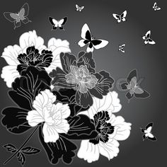 Black, white & gray print