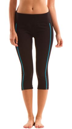 Posture & Tummy Control Capri Legging, Black W/ Electric Blue by Marika MAGIC >> Oh these are cute! I just bought a pair of Marika Leggings and I love them, might have to buy these too! $18, 68% off!