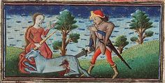 A maiden holds the unicorn by its horn while gesturing to the hunter, who is bloodily killing the beast with a sword. This manuscript also has an image for the monocerus. Museum Meermanno, MMW, 10 B 25, Folio 4v