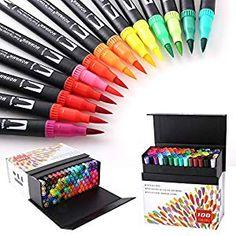 20 Colors Watercolor Fine Tip Pens for Children Adult Book Coloring W// 3pcs Finger Sponges Watercolor Brush Pens