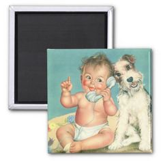Vintage Cute Baby Talking on Phone Puppy Dog Magnet - A blast from the past. Funny Vintage Ads, Vintage Advertising Posters, Vintage Advertisements, Funny Babies, Cute Babies, Baby Talking, Mutt Puppies, Funny Magnets, Retro Phone