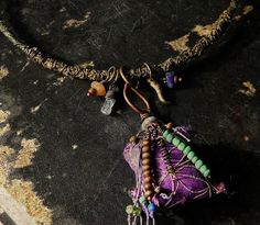 Gypsy choker in purple and green with vintage textiles by quisnam, $  45.00
