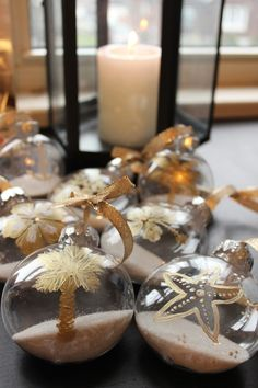 I made these pretty coastal decorations with inexpensive clear plastic ornaments from Michaels craft store and I filled them with some sand ...