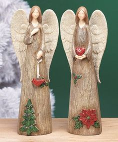 Spread holiday cheer throughout the home with the help of these angelic figurines that add a tender touch to seasonal décor resting above hanging stockings or adorning an otherwise empty side table. Christmas Angels, Christmas Art, Christmas Decorations, Christmas Ornaments, Clay Angel, Pottery Angels, Ceramic Angels, Angel Art, Cold Porcelain