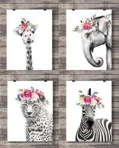 Elephant Leopard Zebra Giraffe art print Printable art Cute