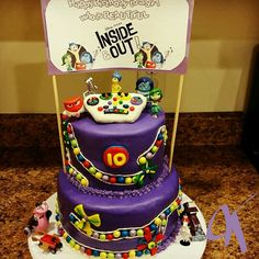 Inside Out cake I made for Kya's 10th birthday #insideoutcake #insideout #insideoutparty #fondant #fondantcake #themedcake