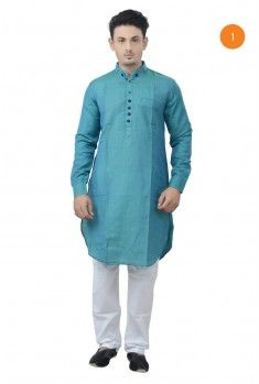 Manyavar Elegant Cotton Short Kurta. The cotton base fabric is a very airy and casual kurta, giving you a classic look and keeping you comfortable, made for all times.