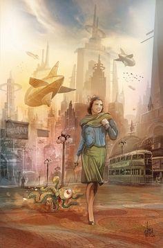 Walkinthe Alien by Luis Peres Fantasy Illustration, Cute Characters, Sci Fi Art, Dieselpunk, Old Photos, Childrens Books, Fantasy Art, Scenery, Art Gallery
