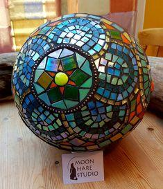 handmade mosaic gazing garden ball by Adela Webb of Moon Hare Studio | by moonhare1