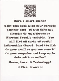 QR codes for your classroom.  Great for Open House.