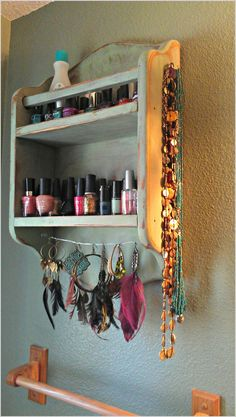 Easy nail polish/jewelry holder from old spice rack