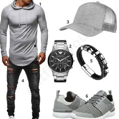 Grau-Schwarzes Herren-Outfit mit Merish destroyed Jeans, Djinns Mesh-Cap, Emporio Armani Uhr, Leif Nelson Longsleeve, Halukakah Armband und Supra Schuhen.