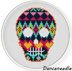 Instant download,Cross stitch pattern,pdf,5.6.7 inch hoop cross stitch,folk skull ,zxxc0927