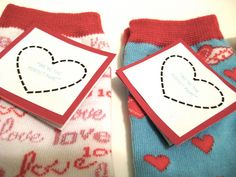 We're the Perfect Pair Valentine's socks...making these for H's class, perfect for No Candy Valentine's!