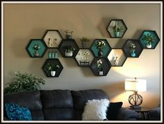 Hand Crafted Custom Hexagon Shelf ~ Shelving - Honeycomb Shelves ~ Beehive Shelf ~ Custom Shelf ~ Hexagon Wall Shelf ~ Geometric wall art This listing is for Hand Crafted Hexagon Shelf customized to fit your decor! Decor, Shelves, Wall Decor, Geometric Shelves, Hexagon Shelves, Hexagon Wall Shelf, Wall Planter, Wall Design, Hexagon