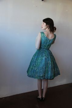 Vintage 1950s Cotton Voile Green and Blue Print Dress and Jacket Sundress Garden Party