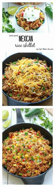 30 Minute - Easy Mexican rice dish made all in One Pan / One Pot. Perfect & easiest for weeknights with the best taco flavors. Even the rice is made in the same pan.