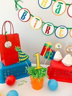 Let's Have a Ball Birthday Party Decorations*Primary Colors Birthday*Colorful Birthday Party*Rainbow Birthday Decoration*centerpiece decor Rainbow Birthday Decorations, Colorful Birthday Party, Ball Birthday Parties, Baseball First Birthday, Farm Birthday, First Birthdays, Party Banners, Cake Smash, Dessert Table