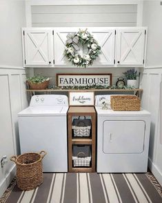 Below are the Farmhouse Laundry Room Storage Decoration Ideas. This post about Farmhouse Laundry Room Storage Decoration Ideas was posted … Small Laundry Rooms, Laundry Room Organization, Laundry Room Design, Storage Organization, Organization Ideas For The Home, Laundry Area, Organized Laundry Rooms, Decorate Laundry Rooms, Storage Shelves