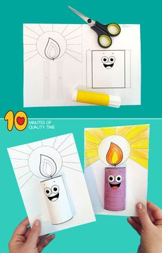 Paper Candle Craft - Happy Christmas - Noel 2020 ideas-Happy New Year-Christmas Easy Crafts, Diy And Crafts, Arts And Crafts, Paper Crafts, Diy Paper, Preschool Crafts, Craft Projects, Crafts For Kids, Toddler Crafts