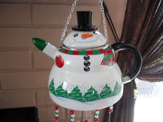 SNOWMAN Tea pot kettle up cycled recycled to by SERENDIPITY326, $50.00