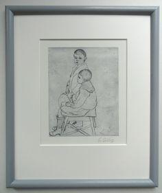 Radierung Elisabeth Sittig Kinder Portrait Zwei Jungs  in Antiquitäten & Kunst, Grafik, Drucke, Originaldrucke 1950-1999 | Ein Geschnek von Wolfgang Sohn