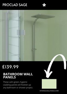 These calm green, hygienic cladding panels will freshen up any bathroom or shower project. Proclad wall cladding is a hard wearing, impact resistant hygienic covering for walls that require minimal maintenance. Wood Panel Walls, Wall Paneling Diy, Waterproof Bathroom Wall Panels, Wall, Cladding Panels, Cool Walls, Paneling, Bathroom Wall Panels, Bathroom Wall
