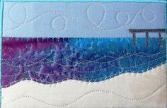 Pier at the Beach Fabric Postcard Art Quilt Beach by SewUpscale, $11.00