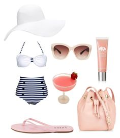 """Beach perfect outfit"" by fashionnailart ❤ liked on Polyvore featuring Talbots, Tkees, Eloquii, Forever 21 and Origins"