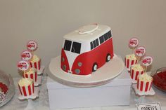 RED and white Kombi Van Birthday Party Ideas | Photo 16 of 51 | Catch My Party