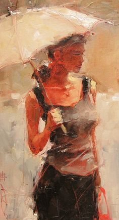 Andre Kohn 1972 | Russian-born Figurative Impressionist painter | White umbrellas