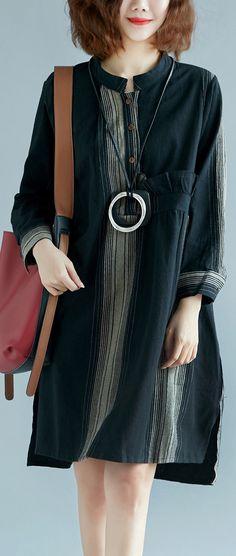 897cf476689 fashion black striped natural cotton linen dress plus size shirt dress  vintage long sleeve side open Stand baggy dresses
