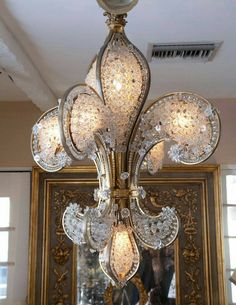 Oh my heart! Look at this Fleur de Lis crystal chandelier