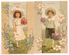 2 Cards Same Set - Children with Flowery Art Nouveau Trim