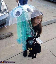 Andrea: My daughter Ella decided to be a jellyfish so this is what we came up with! Looked so beautiful during the day and at night! Most of the items used...