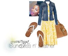 """""""Sundress n' Leather"""" by shalom11 ❤ liked on Polyvore"""