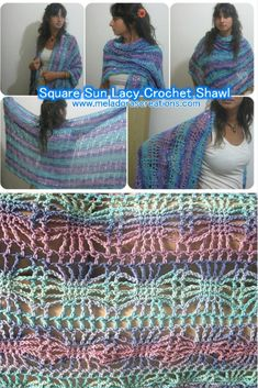 Here you can Learn how to Crochet The Square Sun Lacy Crochet Shawl. By Meladora's Creations Free Crochet Patterns and Video Tutorials.