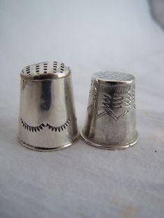 2 Vintage Sterling Silver Southwest US Handmade Thimbles | eBay