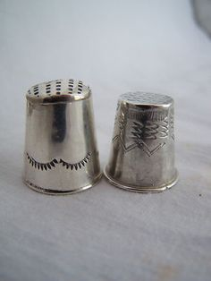 2 Vintage Sterling Silver Southwest US Handmade Thimbles