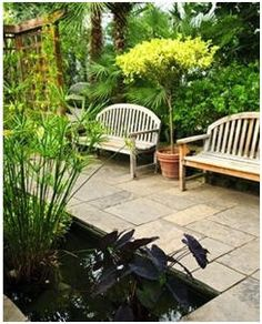 Whether you have a large yard and just want a nice small patio, or you have a small area and need a great small patio design to make your area. Small Patio Design, Pond Design, Garden Design, Backyard Projects, Outdoor Projects, Garden Projects, Garden Paths, Lawn And Garden, Water Garden