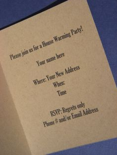 House Warming Party Invitation Custom Made by RememberMeDesigns09