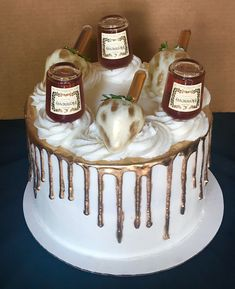 Hennessy Infused into cake, buttercream and strawberries Alcohol Birthday Cake, 22nd Birthday Cakes, Easy Birthday Cake Recipes, Alcohol Cake, Birthday Cake For Him, Adult Birthday Cakes, Birthday Ideas, Hennessy Cake, Liquor Cake