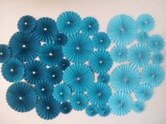 38pc Teal Ombre  Paper Pinwheel Rosette Party by LuckyRay on Etsy, $64.50