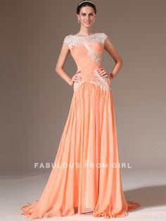 A-line Bateau   Applique  Short  Floor-length Chiffon Prom Dresses / Evening Dresses