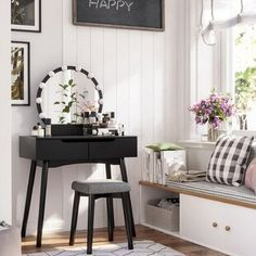 Create a daily beauty corner with a contemporary vanity set - it's a gorgeous way to start your day before a vanity table adding chic and glamour Makeup Table With Lights, Vanity Set With Lights, Vanity Light Bulbs, Vanity Set With Mirror, Wood Vanity, Makeup Tables, Corner Makeup Vanity, Bedroom Makeup Vanity, Black Makeup Vanity