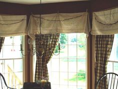 feed sacks and clothes pins for valances