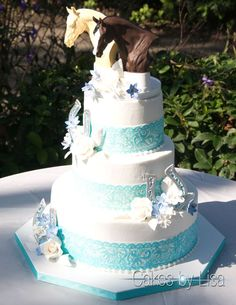 Equestrian Wedding With Custom Horse Head Toppers CAKES BY LISA Serving All Of Central
